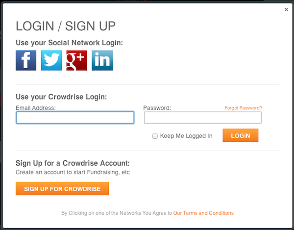 crowdrise login page