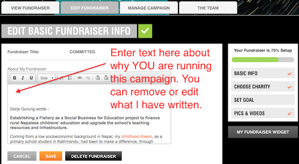 7. crowdrise entering text in campaign text