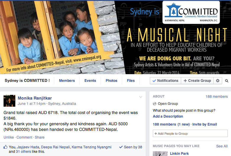 Account details on Sydney's COMMITTED FB page - about funds transferred to COMMITTED