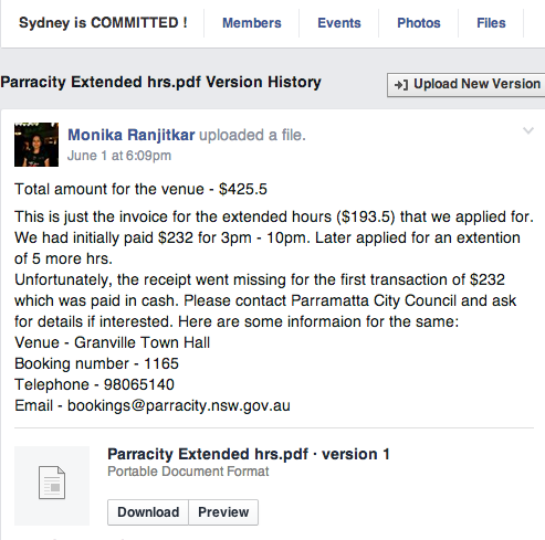 Sydney's COMMITTED - venue expenses