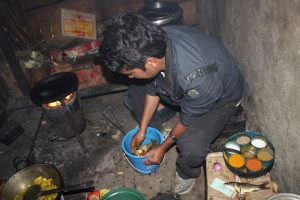 "Kumar sir preparing the ""Thangpalkot specialty."""