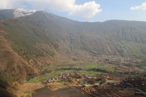 Raithane school and parts of beautiful Thangpalkot village from above.
