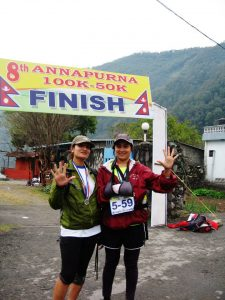 Bimala and Rekha at the end of their 50K Annapurna run.