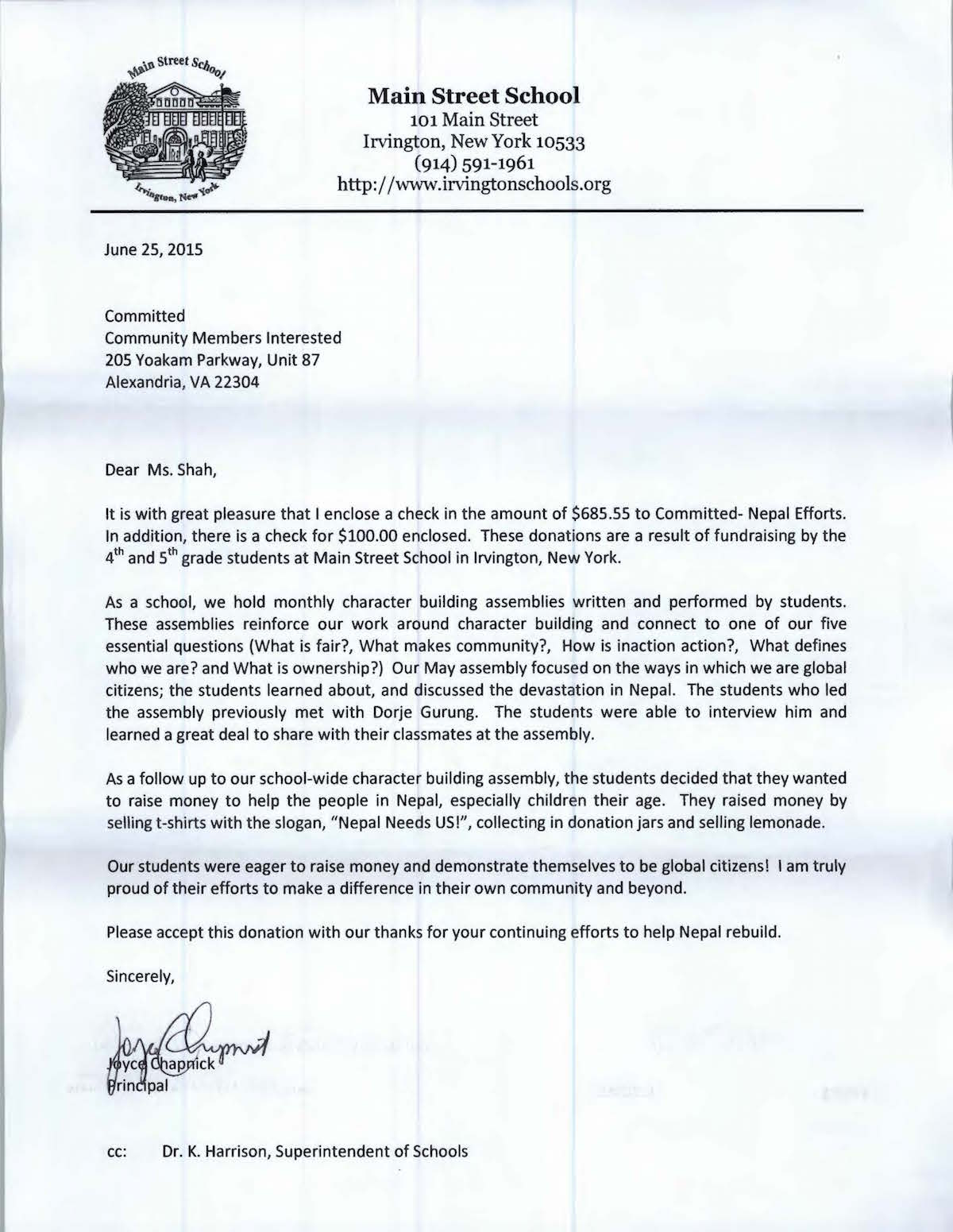 Letter from Main Street School-resized
