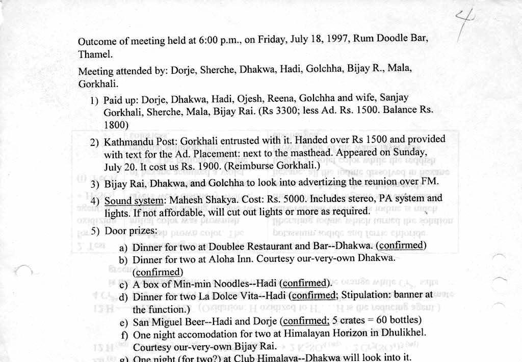 StX 87 10th Reunion Meeting notes