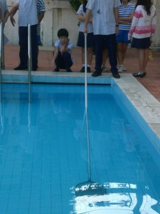 rod in the pool at angle - front view