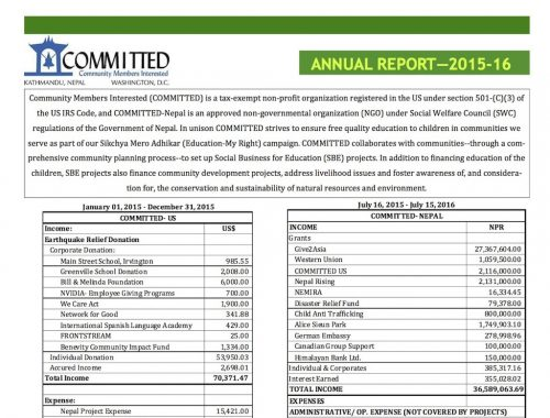 Read more about the article COMMITTED's Annual Report for Fiscal Year 2015-16