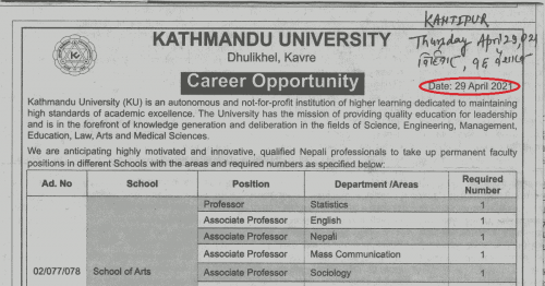 Read more about the article Kathmandu University's Job Advertisement in The Times of COVID-19